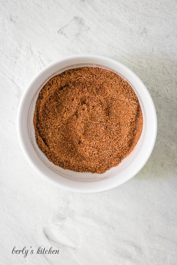 An aerial view of the spice blend in a bowl.