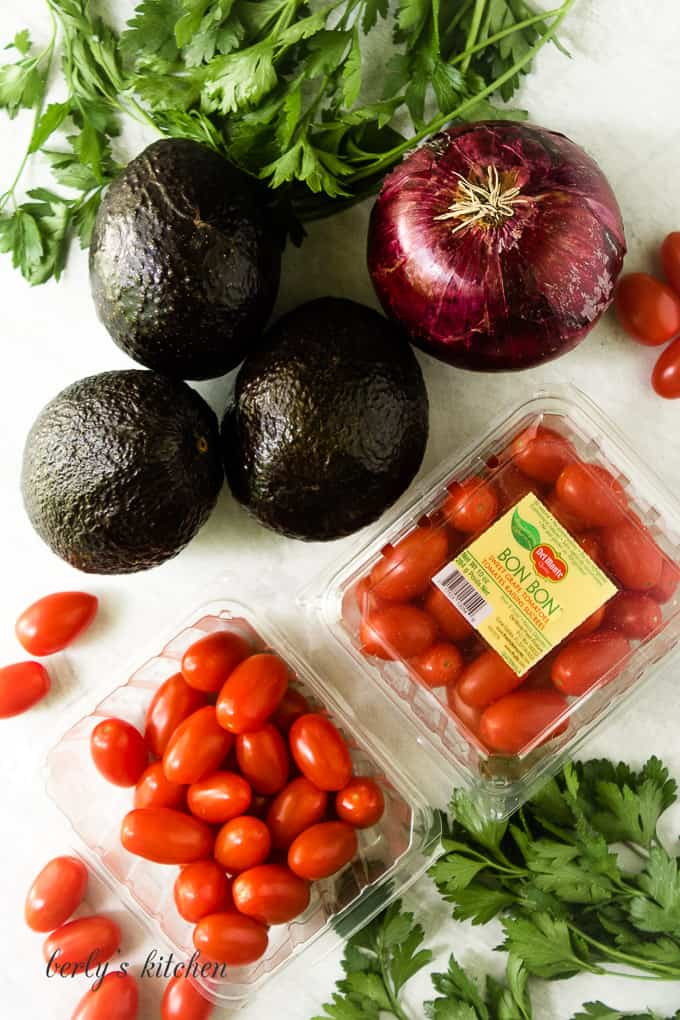 A top down view of avocados, onions, tomatoes, and herbs.