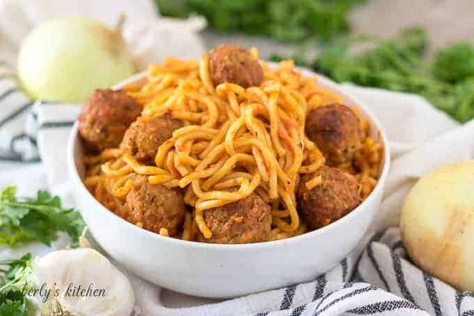 The finished Instant Pot spaghetti and meatballs in a bowl.