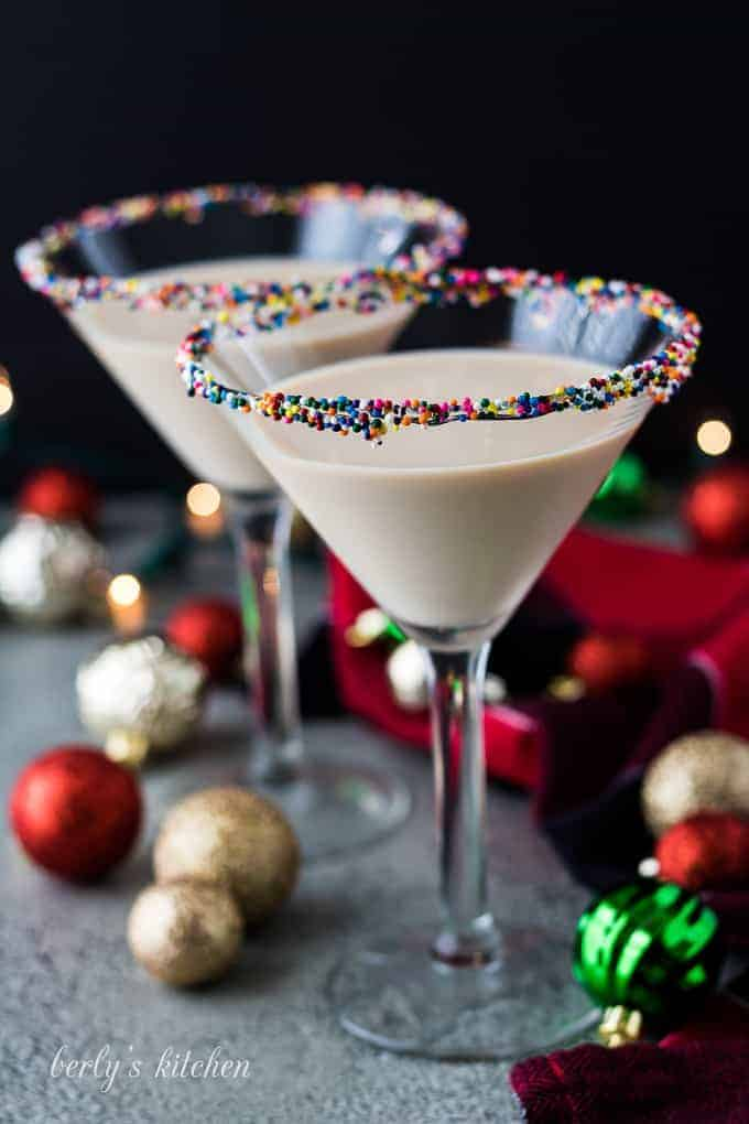 The sugar cookie martinis are done and ready to serve.
