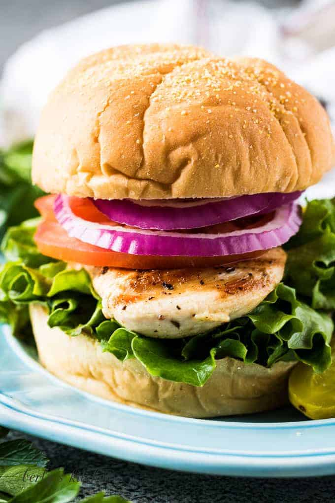 A close-up of the grilled chicken sandwich on a bun.