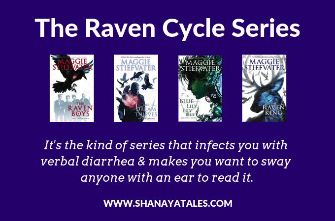 4 book covers of raven cycle series with text recommendation