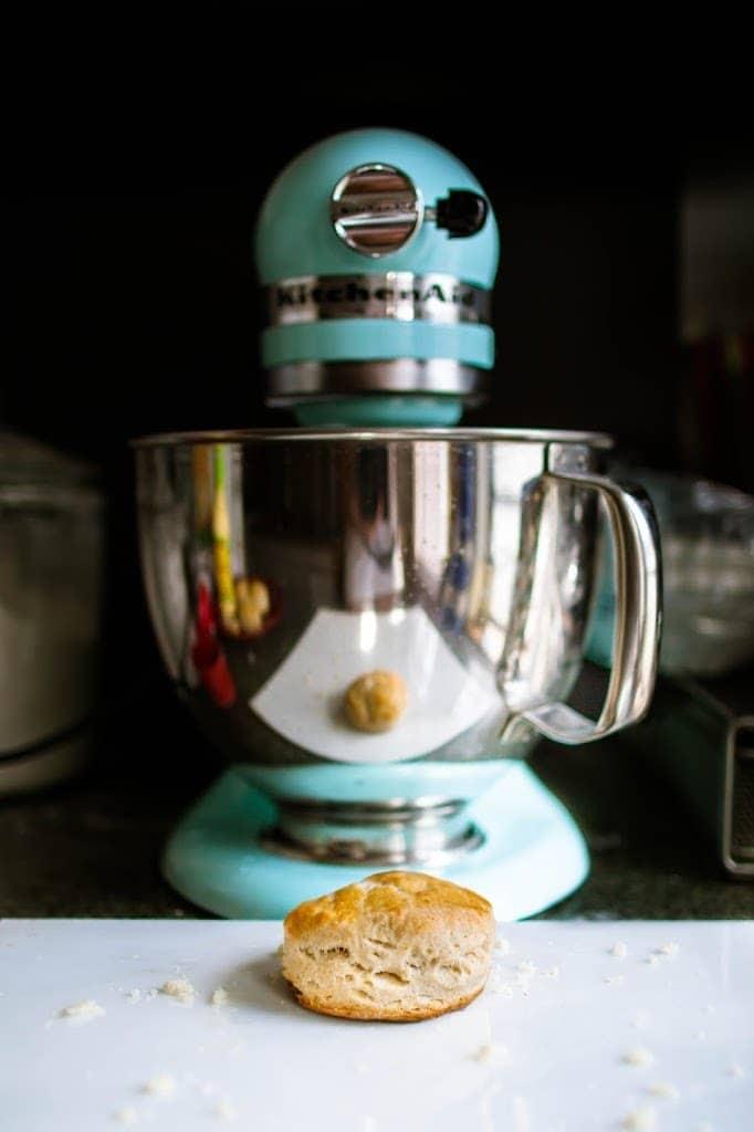 homemade buttermilk biscuit in front of mixer