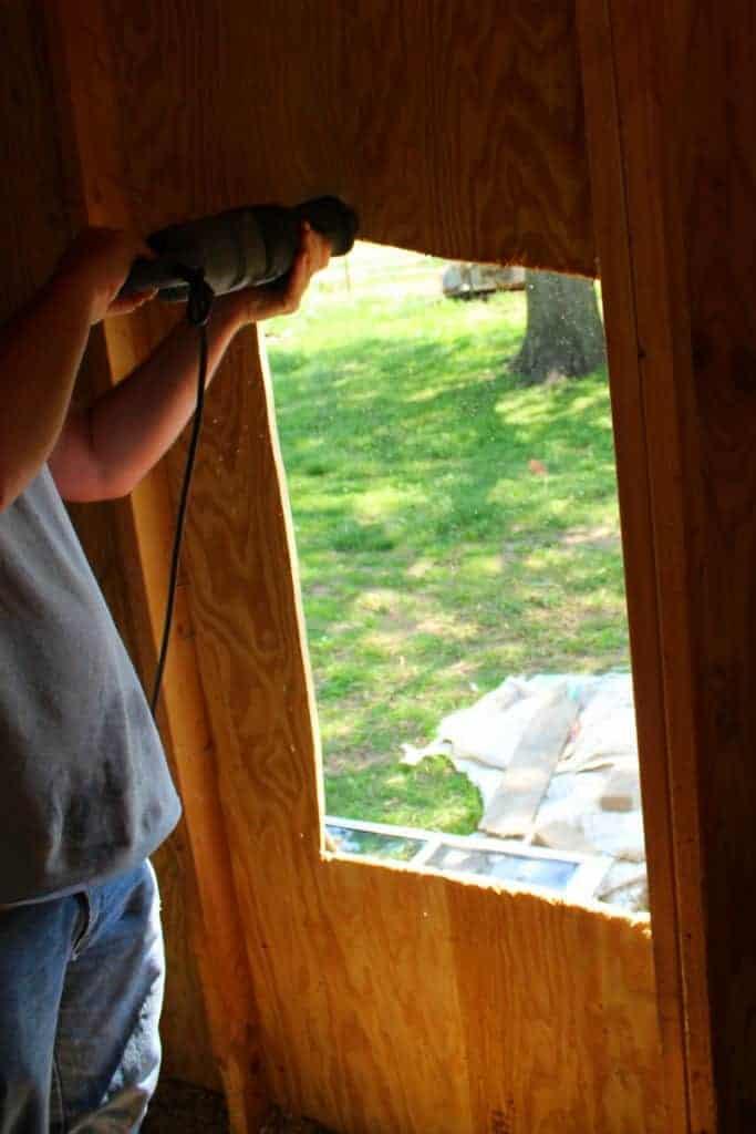 Backyard chicken coop window opening
