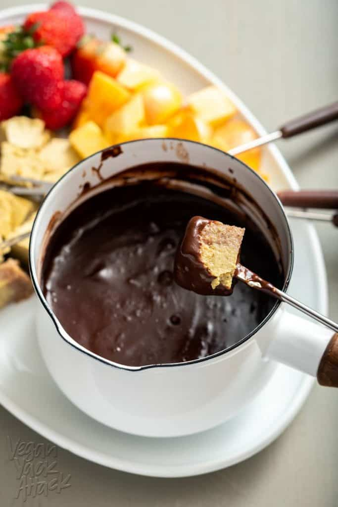 Making Vegan Chocolate Fondue with Pistachio Cheesecake Dippers