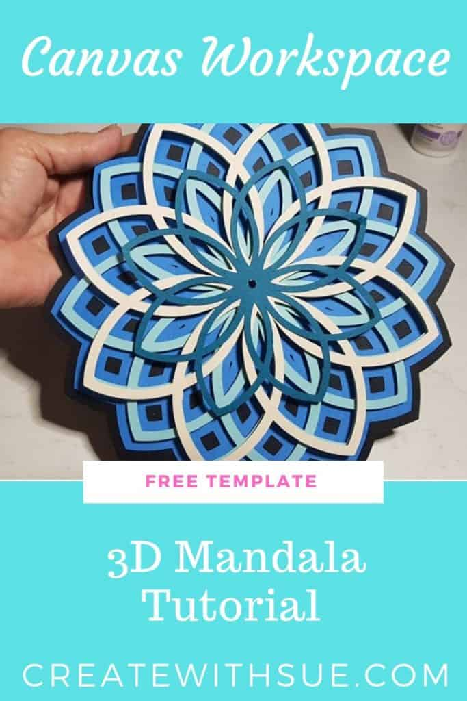 Pinterest pin for 3d Mandala - make it with free template