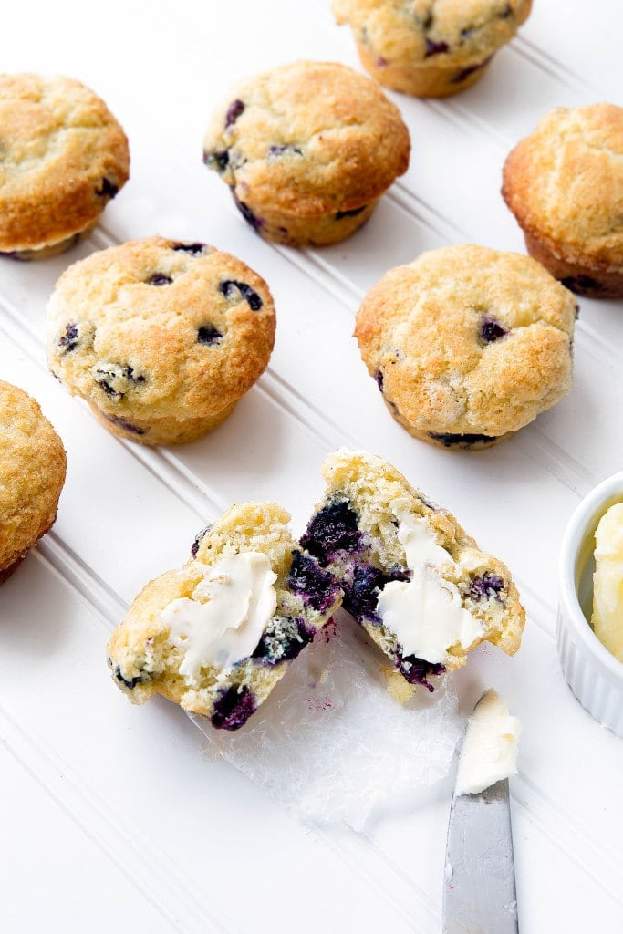 bakery style blueberry muffins on a counter
