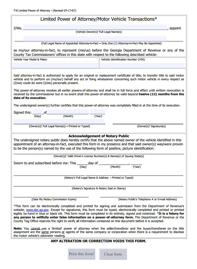 power of attorney form for vehicle  Limited Power of Attorney for Motor Vehicle Transactions ...