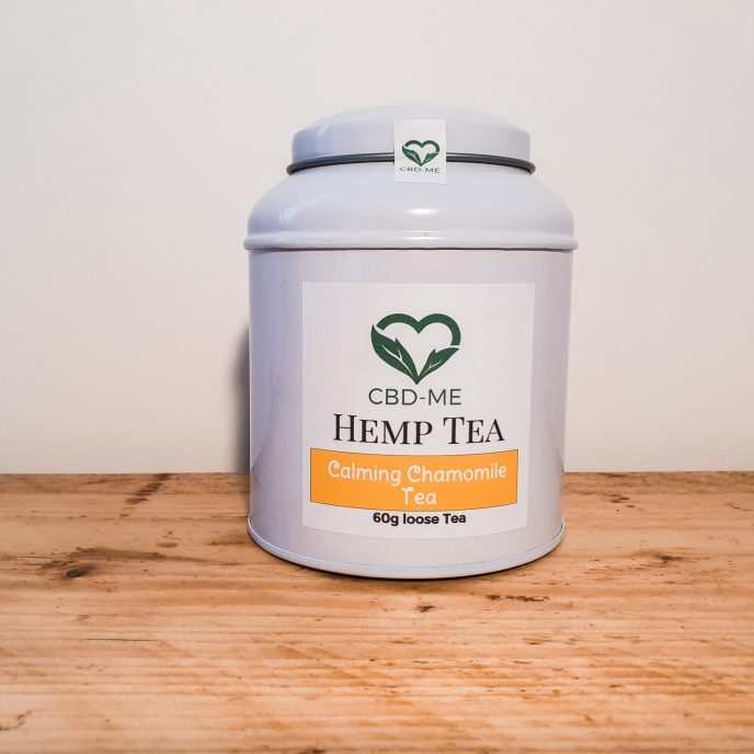 Hemp and Calming Chamomile Tea in a white tin