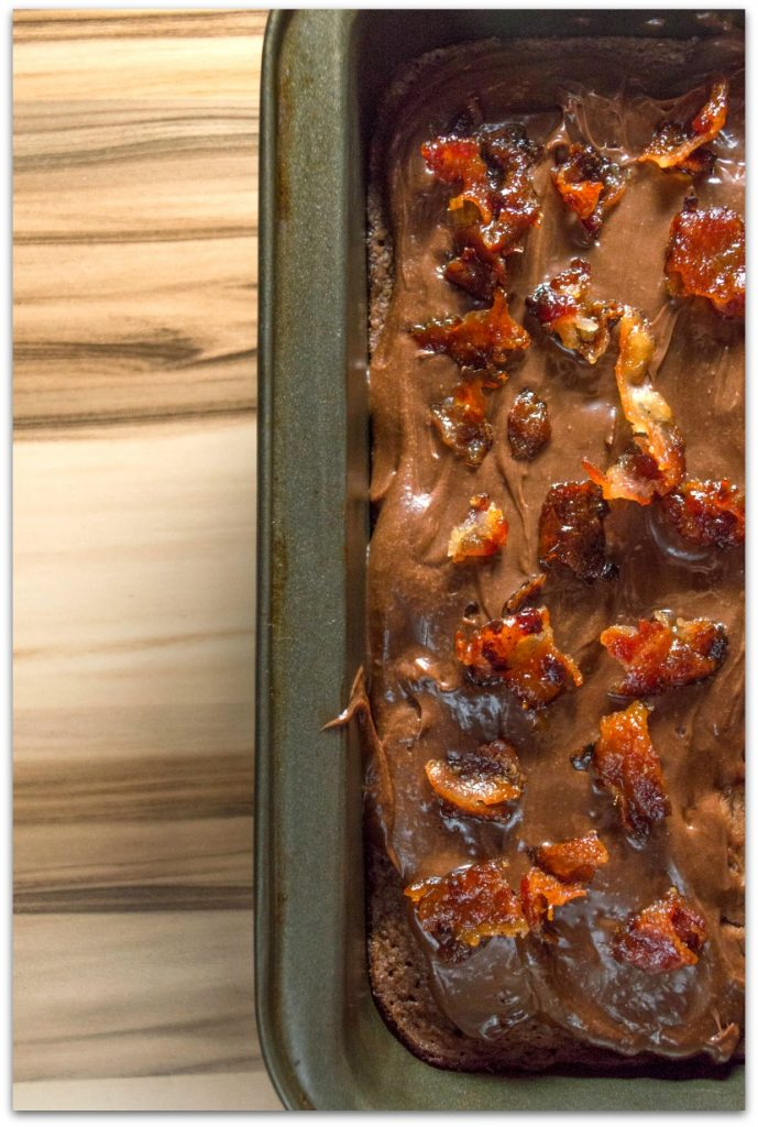 Candied bacon brownies? Yes, please! If you have not tried bacon and chocolate together, you are in for a treat! You know how salt and sweet pairs so well, right? The saltiness of the bacon and sweetness of the chocolate chips and chocolate buttercream in this easy recipe is to die for!