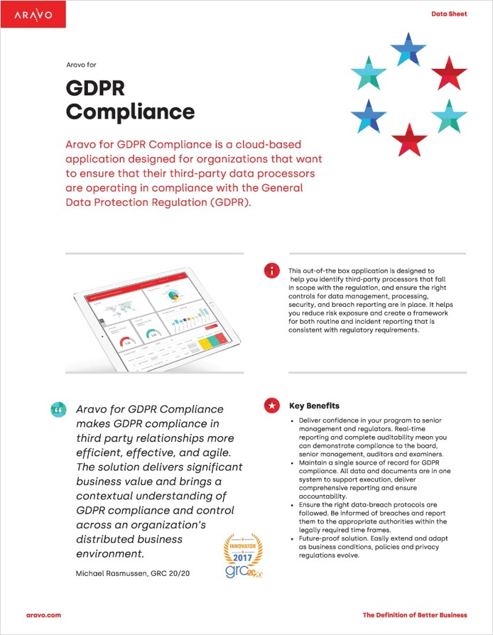 Aravo Data Sheet - Aravo for GDPR