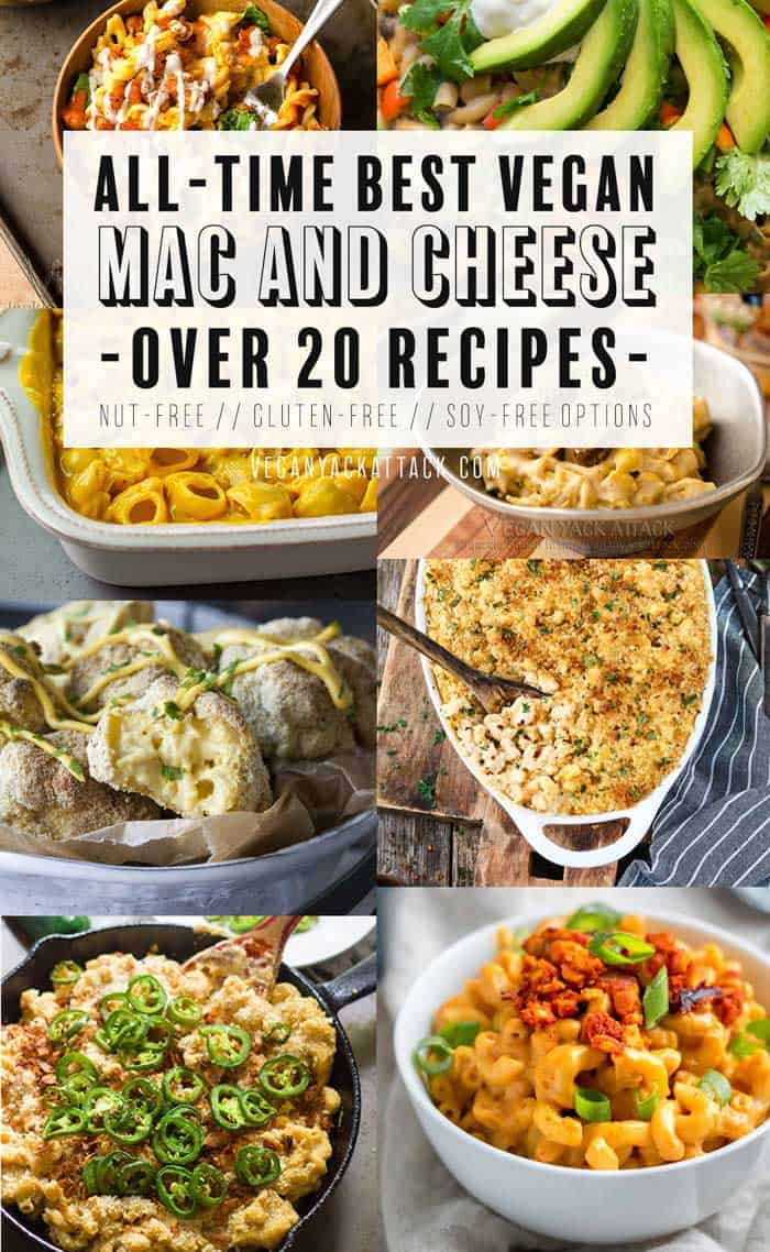 All-time Best Vegan Mac and Cheese Recipes! More than 20 delicious recipes with options for nut-free, gluten-free, and soy-free! #vegan