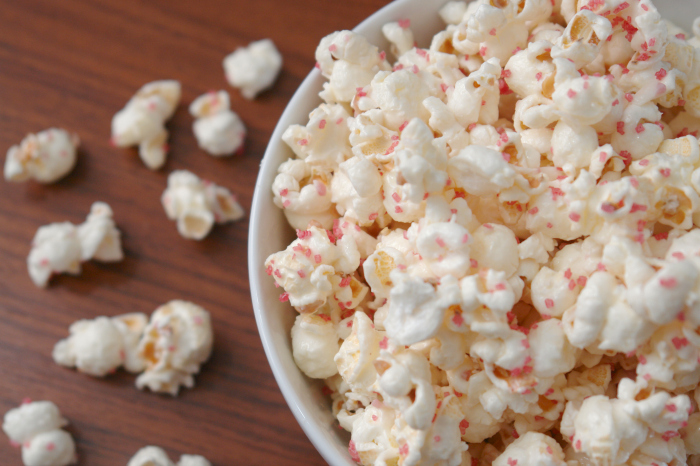 White Chocolate Peppermint Popcorn on table