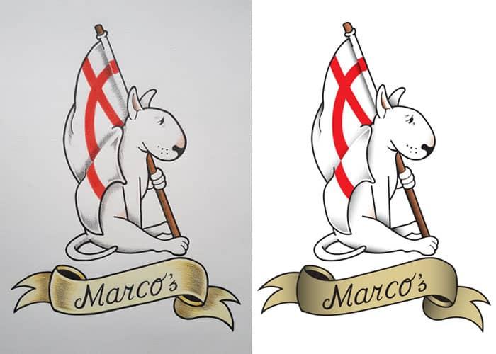 Een voorbeeld van een logo wat wij gedigitaliseerd hebben.
