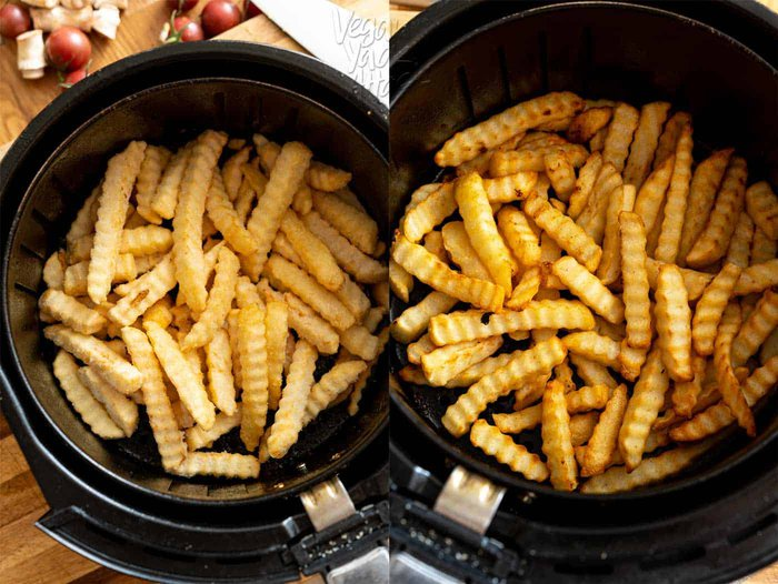 before and after photos of Air-fried frozen crinkle cut fries