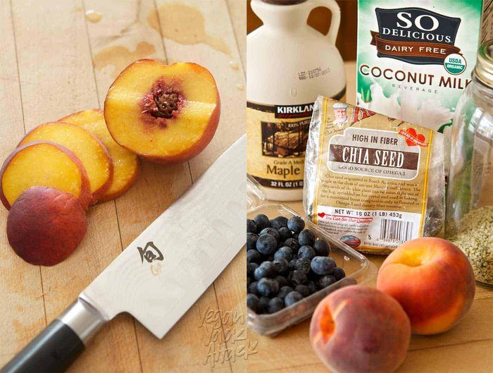 Image collage of sliced peaches and chia pudding ingredients