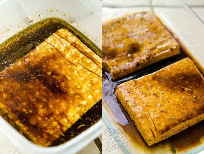 Image collage of tofu slabs marinating in balsamic mixture