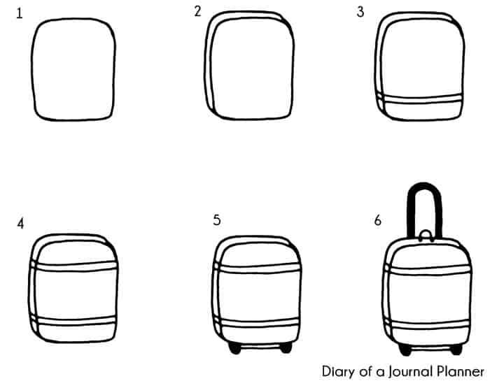 hand luggage doodle tutorial
