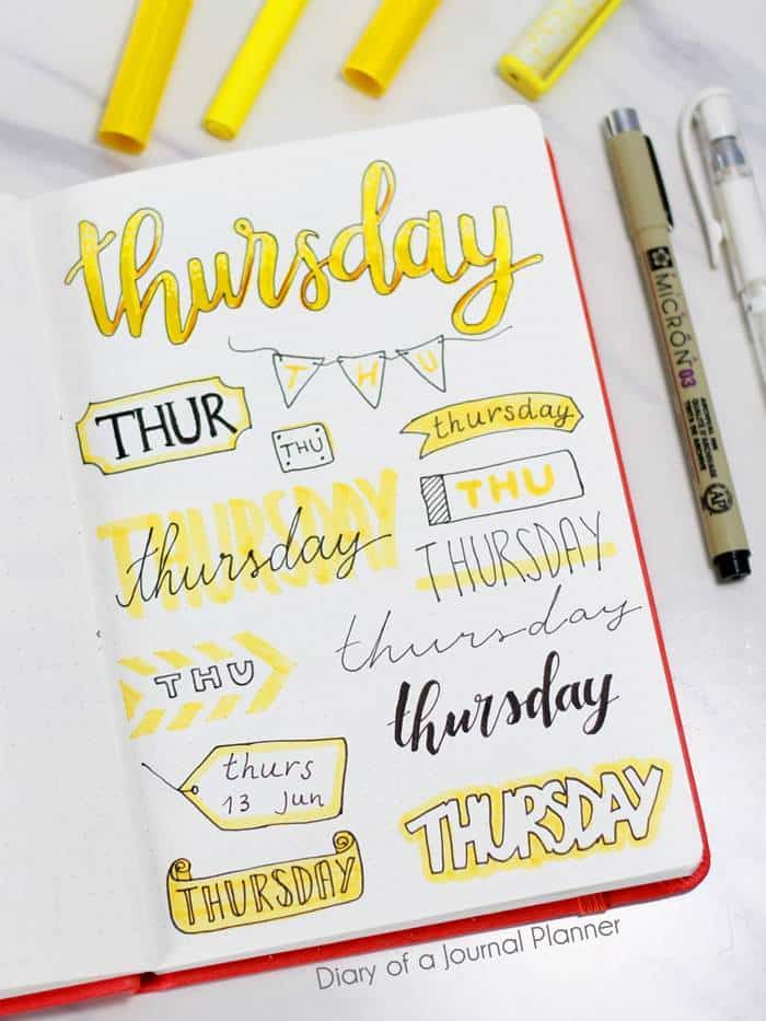 bullet journal headings for thursday
