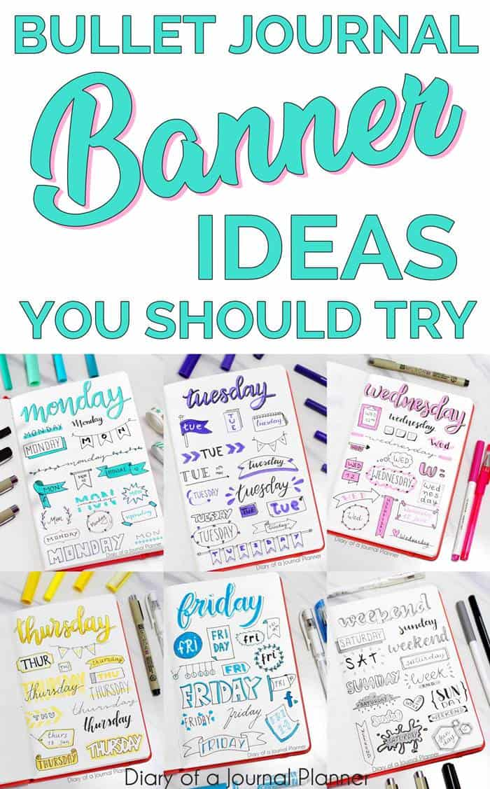 headers and banners for bullet journal
