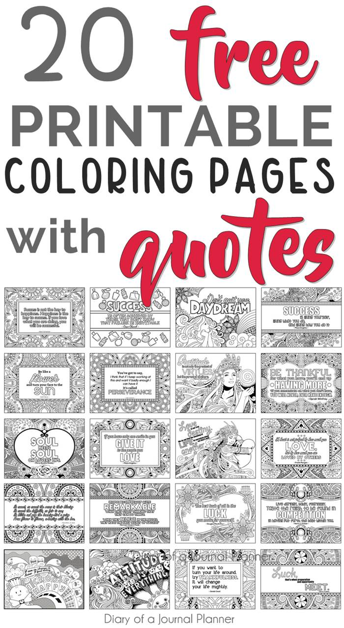 printable coloring page with quotes