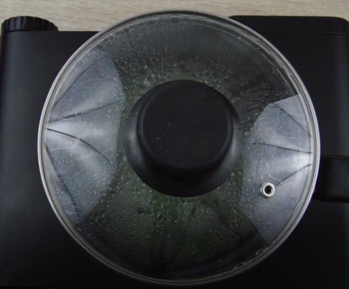 tea pan closed with lid to steep tea.
