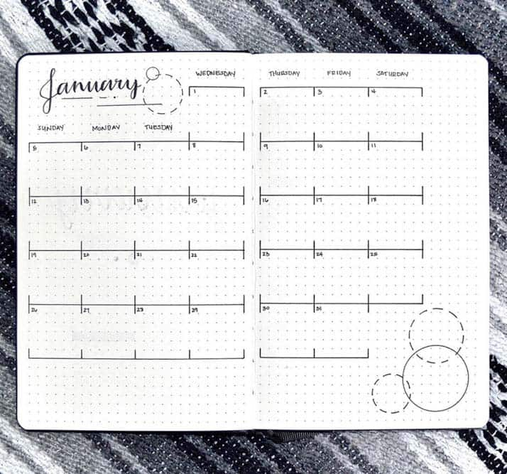 Easy Monthly spread