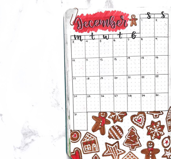 festive monthly spread
