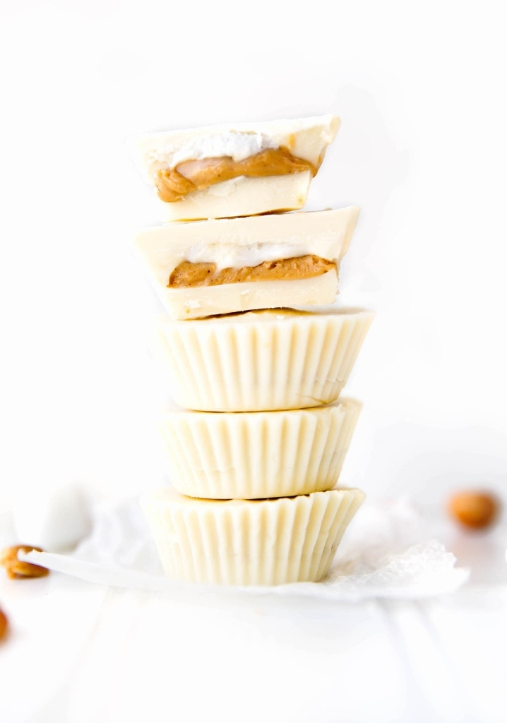 White Chocolate Peanut Butter Fluff Cups in a stack