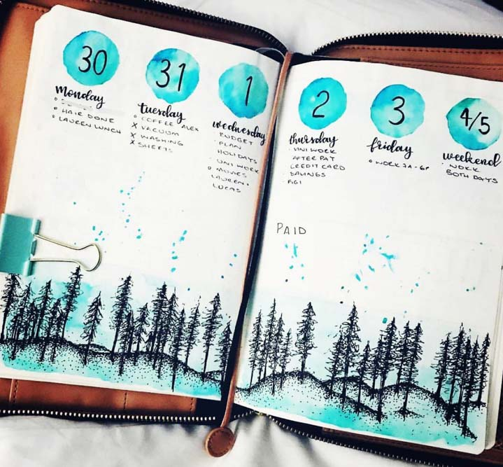 Winter weekly spread idea