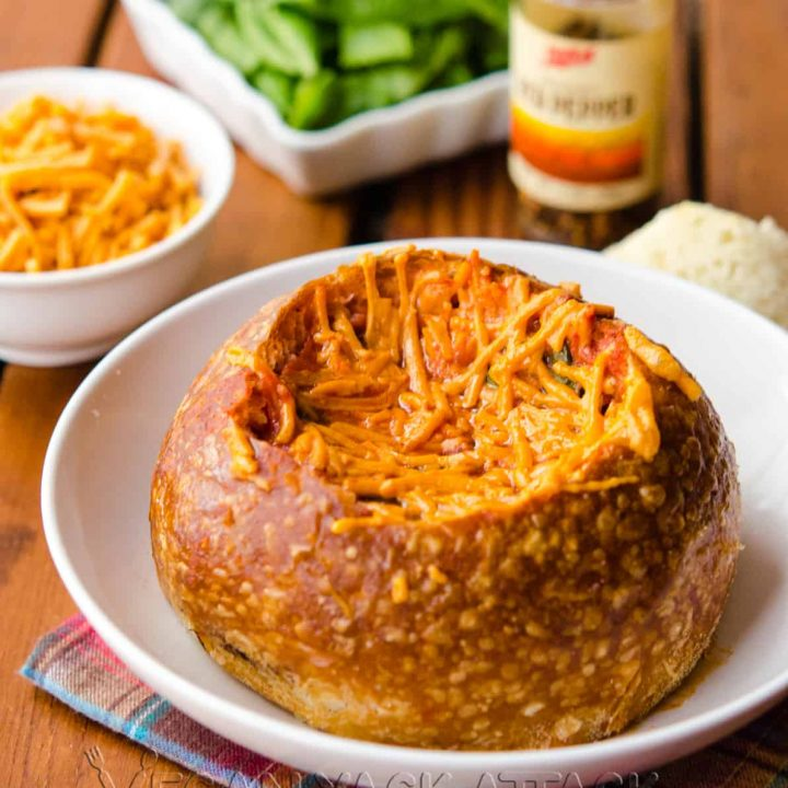Tomato Spinach Grilled Cheese Bread Bowl