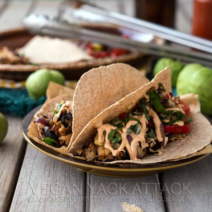 Beefy Jackfruit Tacos with Grilled Tomatillos
