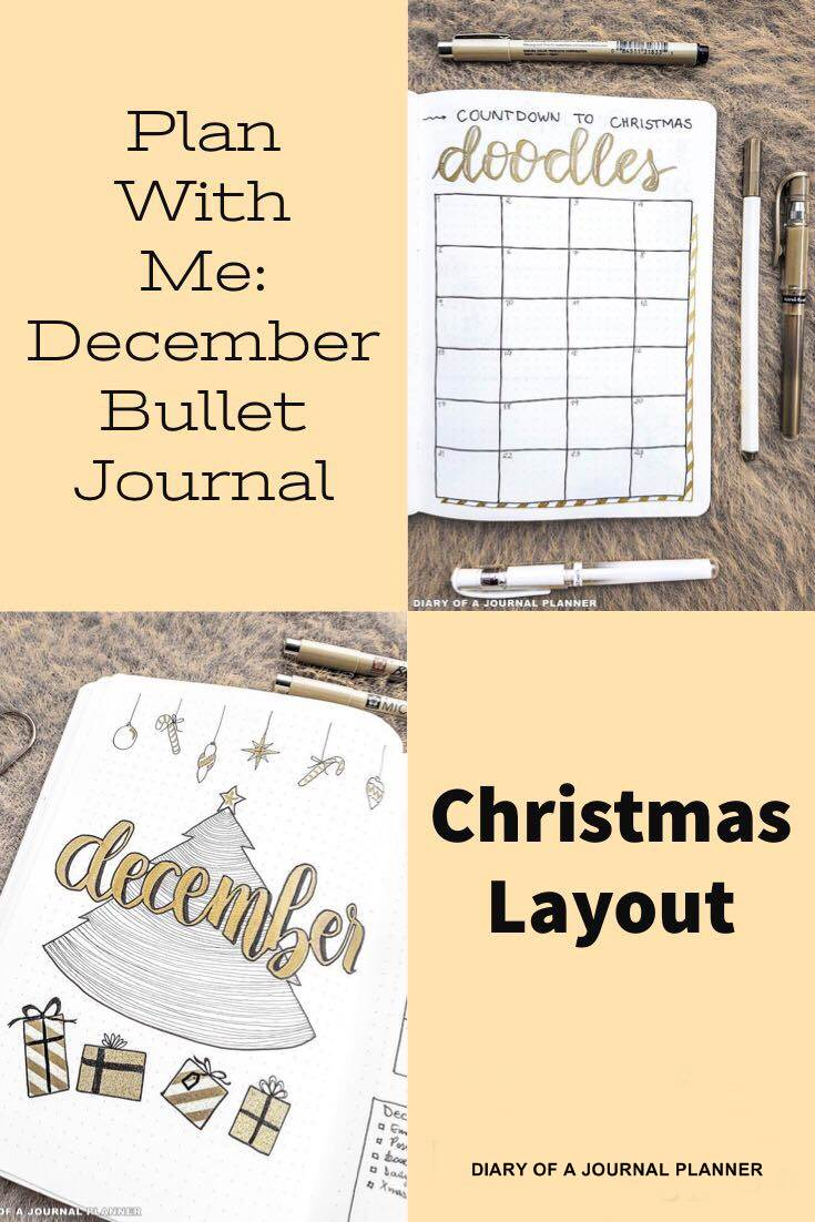 Plan with me December bullet journal Christmas spreads ideas