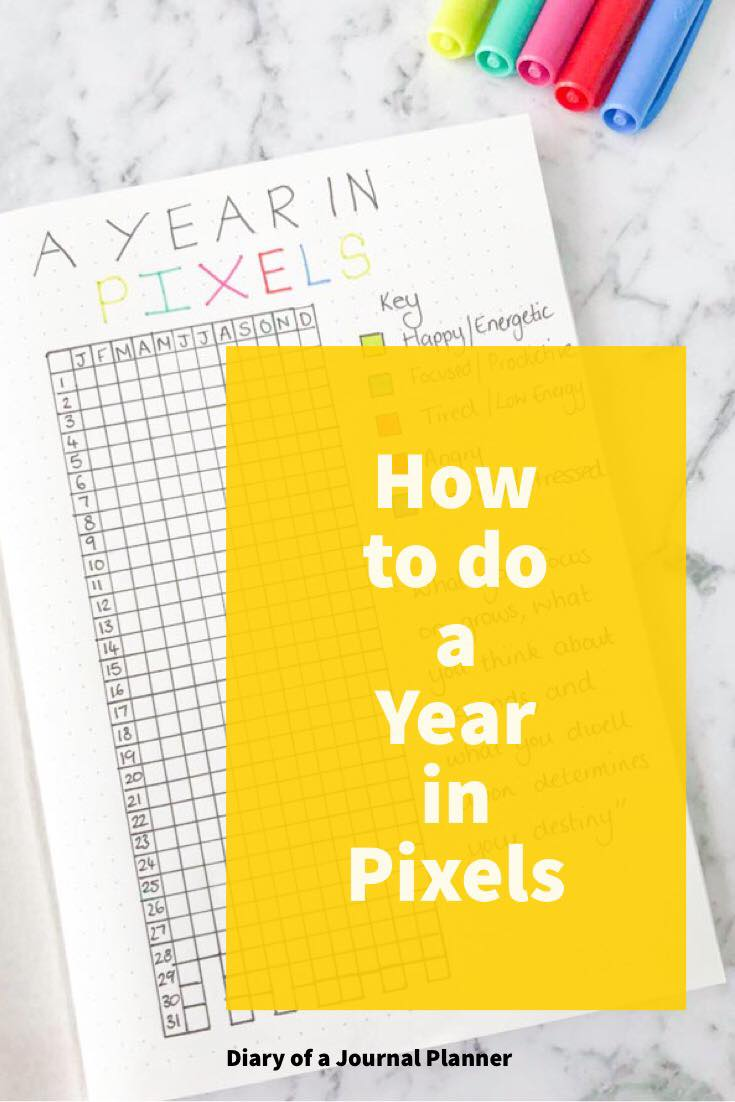 how to do an year in pixels bullet journal layout