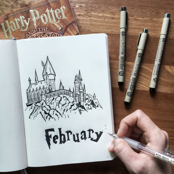 Monthly Hogwarts inspired cover page
