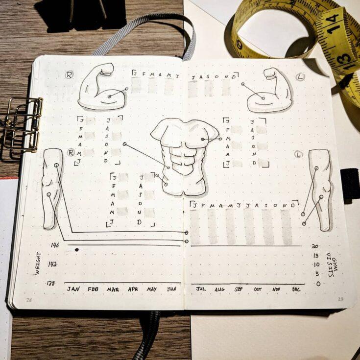 Men's Fitness Tracker For Bullet Journal