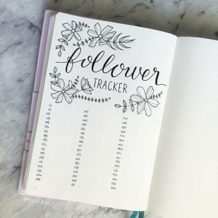 Floral Theme Bullet Journal Tracker