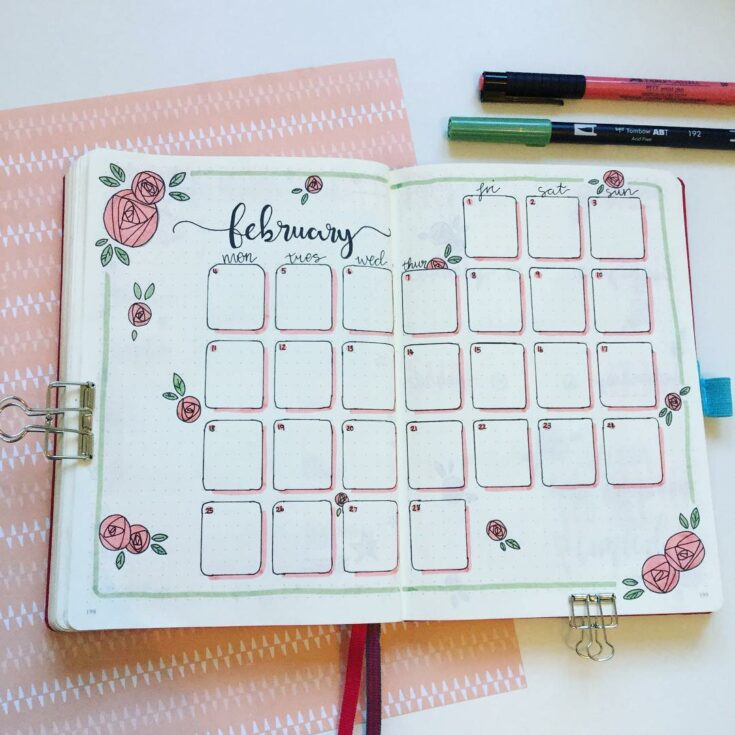 Monthly Layout with Flowers
