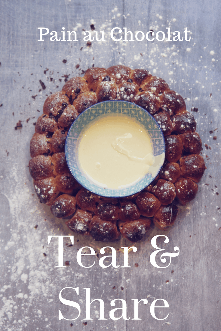 The perfect Tear & Share for Christmas morning! A Pain au Chocolat wreath with a pot of melted white chocolate nestled in the middle. Takes 10 minutes to prepare with my quick and simple pastry cheat!