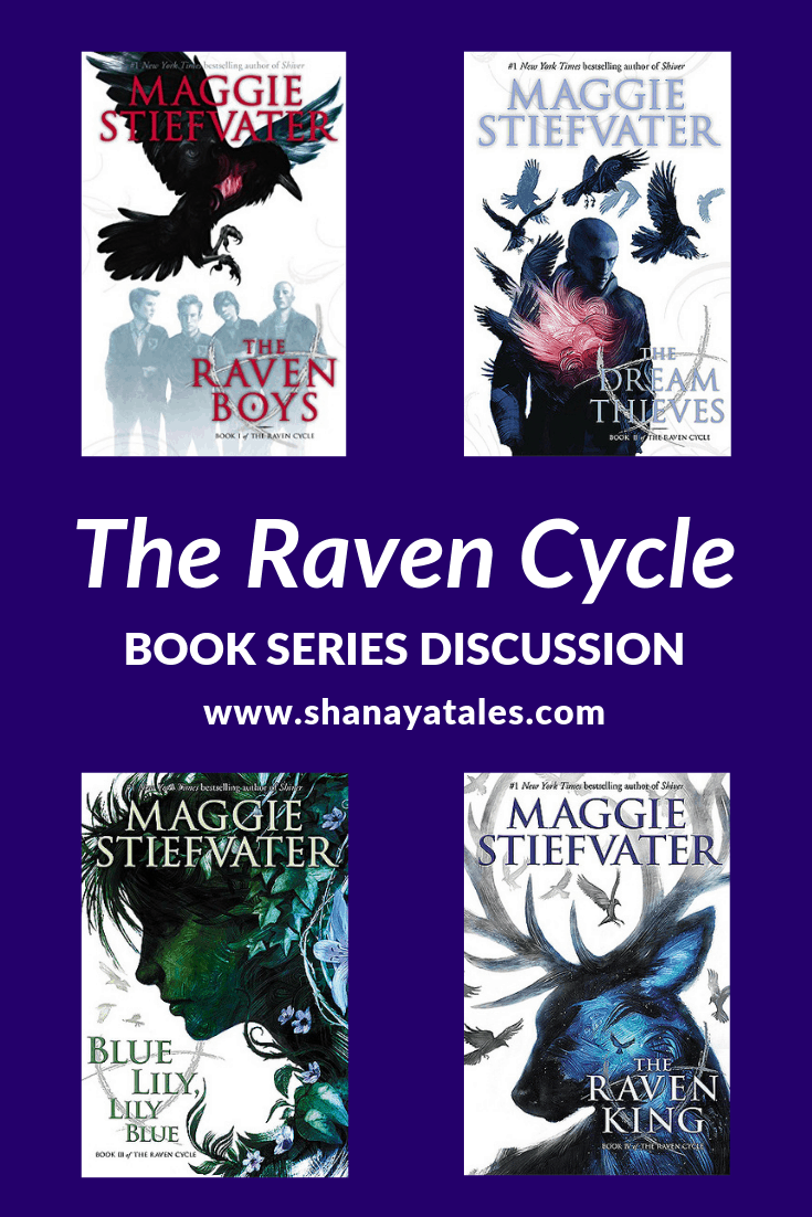 covers of 4 books in the raven cycle series with text