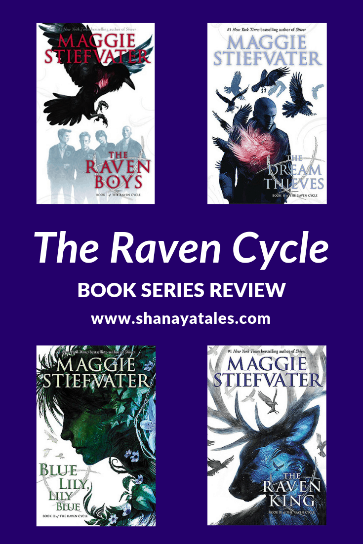 4 book covers of the raven cycle series