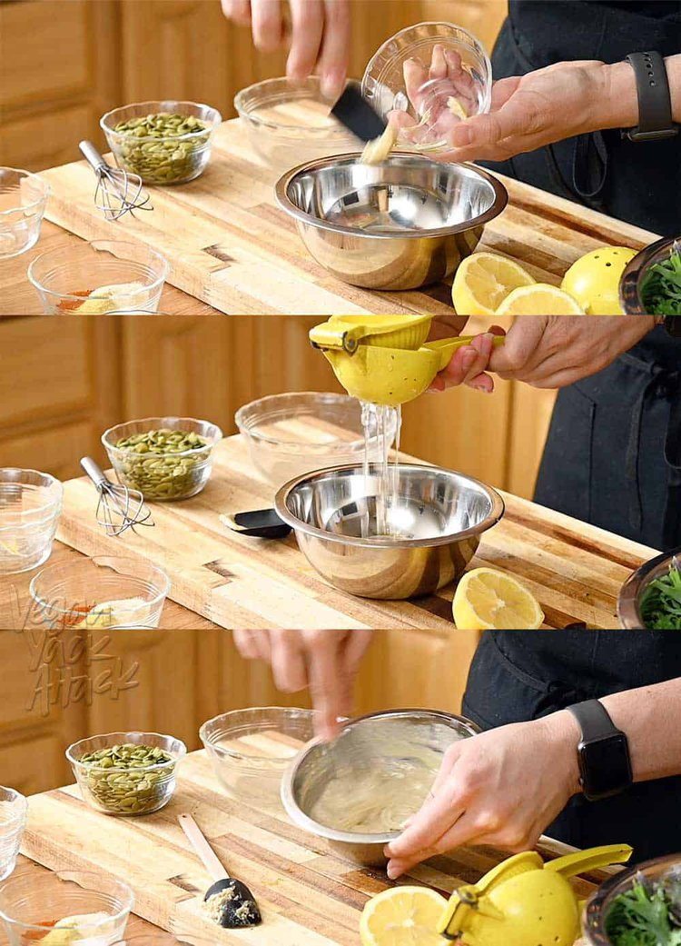 Image collage of adding dijon and lemon juice to tahini dressing