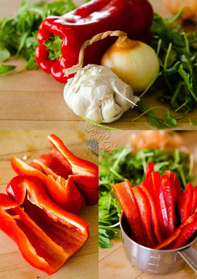 Image collage of bell peppers, onion, and arugula on a cutting board