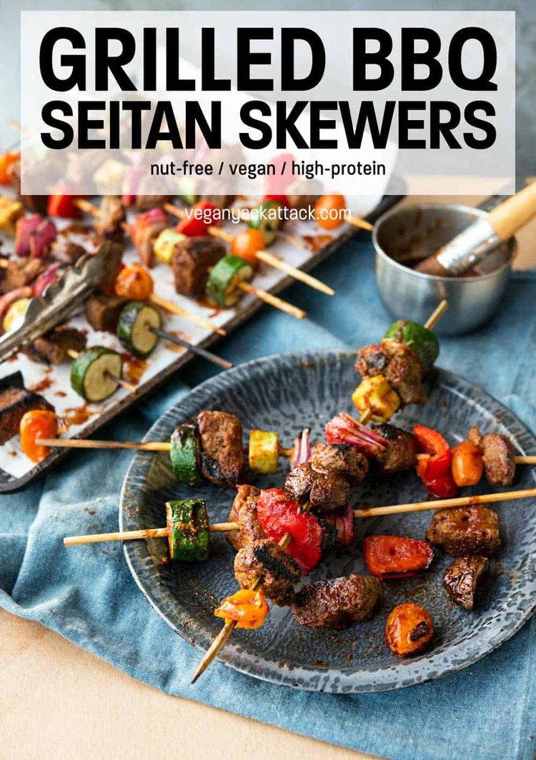 "vegan skewers on a metal plate and denim linen with text reading ""Grilled BBQ Seitan Skewers"""