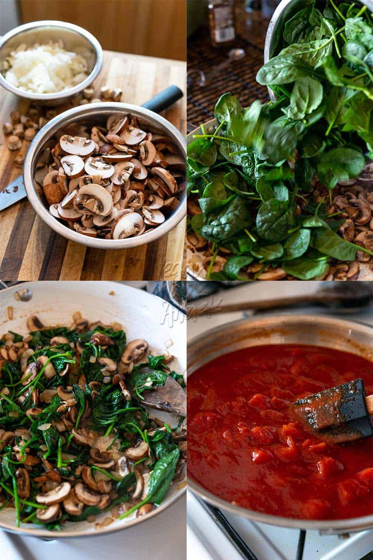 Image collage of process to make spinach mushroom filling and sauce for lasagna rolls