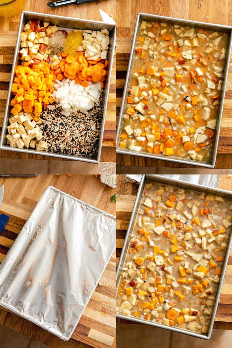 Image collage of steps to cook the autumn wild rice bake