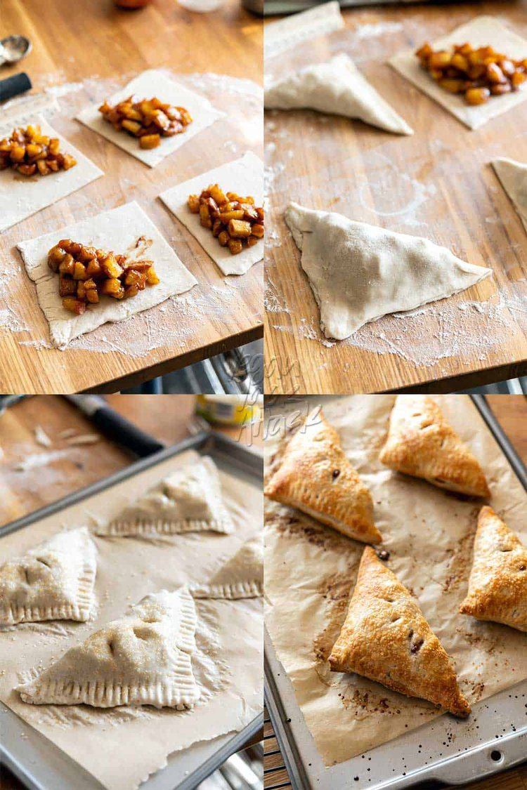 Image collage of prepping and folding puff pastry apple turnovers