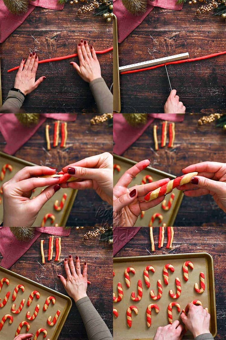 Image collage of measuring and cutting cookie segments, and assembling them into candy cane cookies