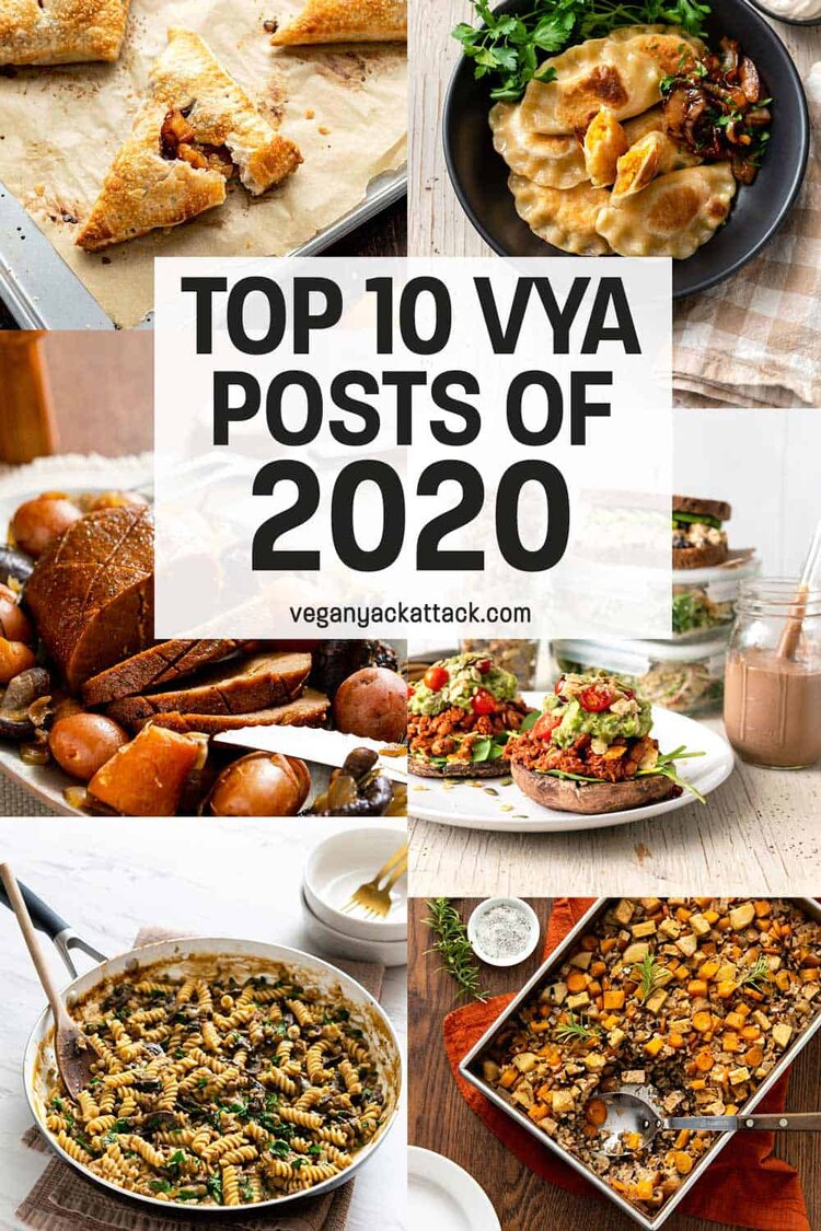 "Image collage of vegan recipes with text overlay ""TOP 10 VYA POSTS OF 2020"""