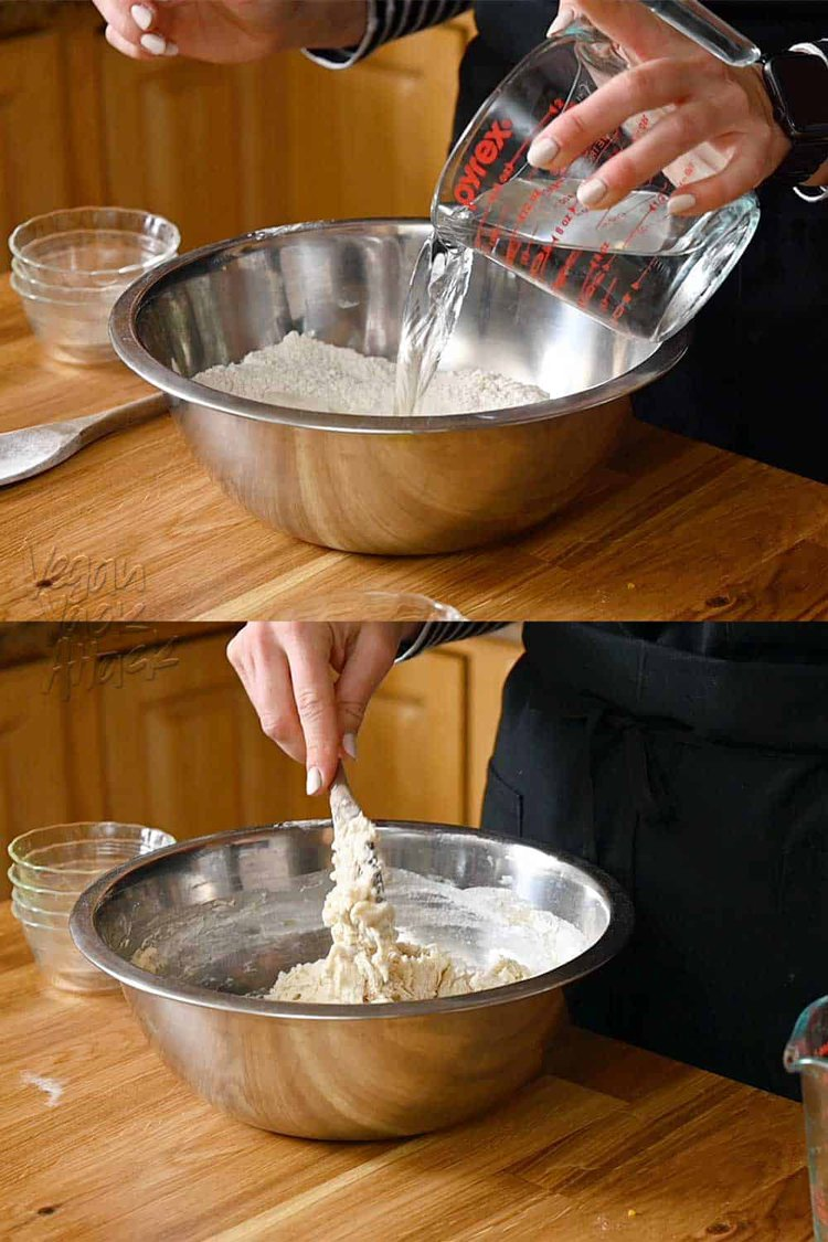 Image collage of adding water to flour and mixing dough in steel bowl